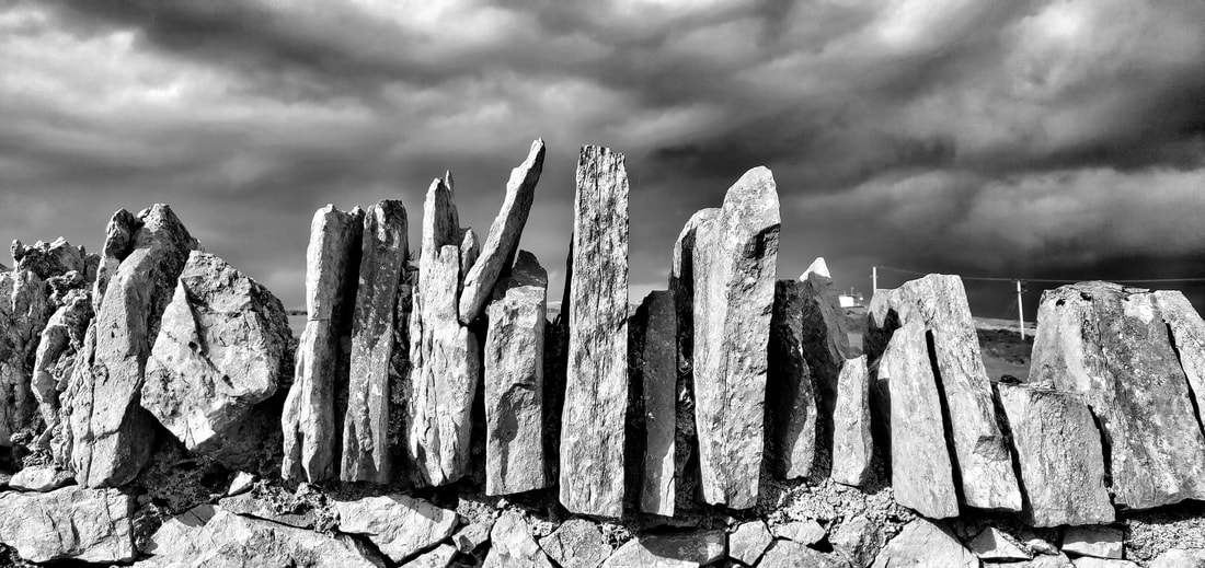 monochrome stone wall in North Wales